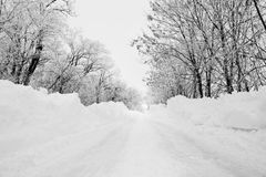 Snowy winter road Stock Photo
