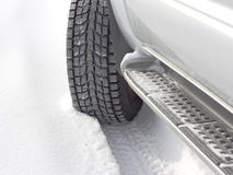 Snowy winter road behind an car stock images