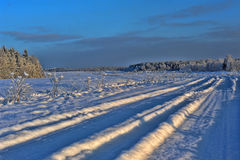 Snowy winter road. Royalty Free Stock Images