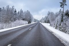 Free Snowy Winter Road In The South Of Sweden Stock Image - 142135221