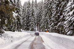 Snowy winter road Stock Photos