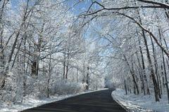 Snowy Winter Road Scene Stock Images