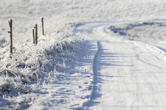 Snowy winter road Royalty Free Stock Photography