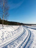 Snowy winter road with tire markings Stock Image