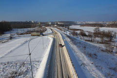 Snowy winter road top view Stock Images