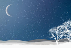 Snowy Winter scene. Illustration of christmas winter scenery stock illustration