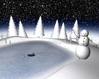Snowy winter scene. Computer generated 3d illustration of a snowy winter scene and snowman Royalty Free Stock Image