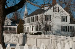 New England House in Winter Stock Photography