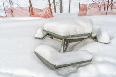 Snowy Winter scene picnic table Stock Images