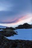 Snowy winter scene in Scandinavia Royalty Free Stock Image