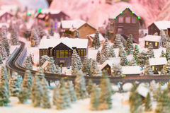 Snowy winter scene of a small hamlet model Stock Images