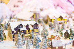 Snowy winter scene of a small hamlet model Royalty Free Stock Images