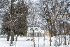 Snowy Winter scene stone house Royalty Free Stock Photos