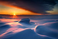 Snowy winter seascape Royalty Free Stock Photo