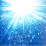 Snowy Winter Sky Background. Christmas winter sky background with snowflakes Stock Photos