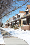 Snowy Winter Street in Chicago. Jefferson Park Neighborhood Royalty Free Stock Photo