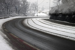 Snowy winter street Royalty Free Stock Photos