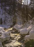 Snowy, Winter-Szene eines kleinen Stromes nahe Partnachklamm-Schlucht, Deutschland Stockbilder