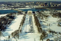 Washington DC: Reflecting Pool, Lincoln Monument, and the Potomac River on a snowy winter day Stock Photo