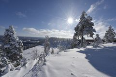 Snowy winterday in Branäs Sweden. Nice snowy winderday in Branäs Sweden 2018. Picture taken at the top with bridge in view Stock Image