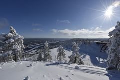 Snowy winterday in Branäs Sweden. Nice snowy winderday in Branäs Sweden 2018. Picture taken at the top with bridge in view Stock Images