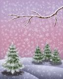 Snowy winterlandscape with fire trees a branch and snow flakes vertical image stock illustration