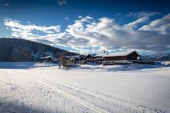 Snowy winter landscape, skiing, alps. Snowy winterlandscape in Reit im Winkl, bavaria, alps, germany stock photography
