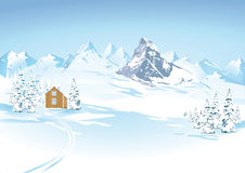 Snowy winters landscape. Illustrated scenic view of snowy winters landscape with cabin and mountain range in background royalty free illustration