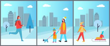 Snowy Wintertime City Park Vector Illustration. Snowy wintertime city park with happy families walking dogs or having fun with children. Vector illustration with Royalty Free Stock Photos