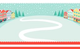 Snowy Wintertime Park Poster Vector Illustration. Snowy wintertime park poster with winding path in deep white snow. Vector illustration with quiet winter Royalty Free Stock Images
