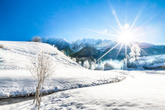 Snowy wonderland in the mountains Stock Photos