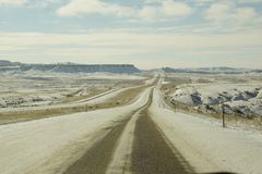 Snowy Wyoming roads Royalty Free Stock Images