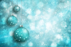 Snowy Xmas bulbs set decoration background Stock Photography