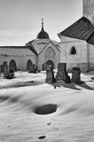 Snowy Zelena Hora, Czech republic stock photo