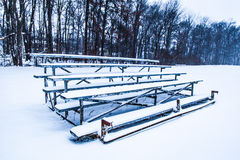 Snowy-Zuschauertribünen Stockbild
