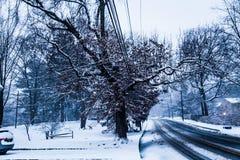 SnowyStreet Imágenes de archivo libres de regalías