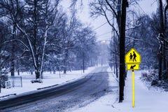 SnowyStreet Royaltyfri Bild