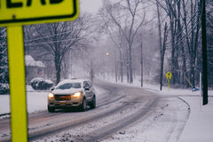 SnowyStreet Lizenzfreies Stockbild