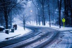 SnowyStreet Fotos de archivo libres de regalías