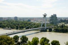 SNP Bridge - Bratislava - Slovakia. UFO Bridge in Bratislava - Slovakia Royalty Free Stock Photography
