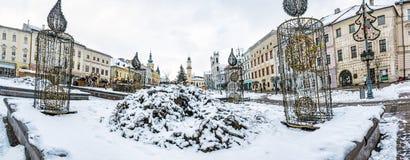 SNP kwadrat w Banska Bystrica, Sistani, zimy scena Obraz Stock