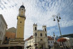Banska Bystrica, Slovakia. SNP square with Marian Column, Clock Tower and Town Castle in Banska Bystrica, Slovakia 3.8.2017 stock image
