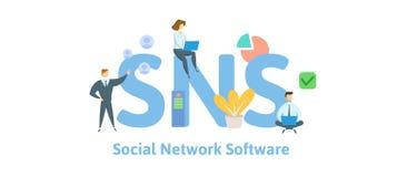SNS, servi?o de rede social Conceito com palavras-chaves, letras e ?cones Ilustra??o lisa do vetor Isolado no branco ilustração stock