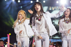 SNSD band at the Human Culture EquilibriumConcert Korea Festival in Viet Nam. Ho Chi Minh City, VietNam - March 22: Tae Yeon (SNSD, Girls' Generation band) dance Stock Images
