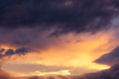 Snset sky strom clouds billow nature background Stock Photos