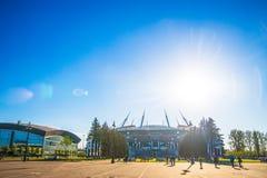 Snt Πετρούπολη, Ρωσία - 18 05 2018, Παγκόσμιο Κύπελλο 2018 γηπέδου ποδοσφαίρου χώρων αποκορυφώματος Gazprom στοκ εικόνα με δικαίωμα ελεύθερης χρήσης