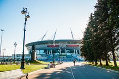 Snt Петербург, Россия - 18 05 2018, кубок мира 2018 футбольного стадиона арены зенита Газпрома стоковое фото