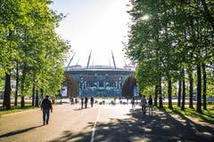 Snt 彼得斯堡,俄罗斯- 18 05 2018年,俄罗斯天然气工业股份公司天顶竞技场橄榄球场世界杯2018年 库存图片