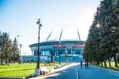 Snt 彼得斯堡,俄罗斯- 18 05 2018年,俄罗斯天然气工业股份公司天顶竞技场橄榄球场世界杯2018年 免版税库存照片