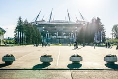 Snt 彼得斯堡,俄罗斯- 18 05 2018年,俄罗斯天然气工业股份公司天顶竞技场橄榄球场世界杯2018年 库存照片